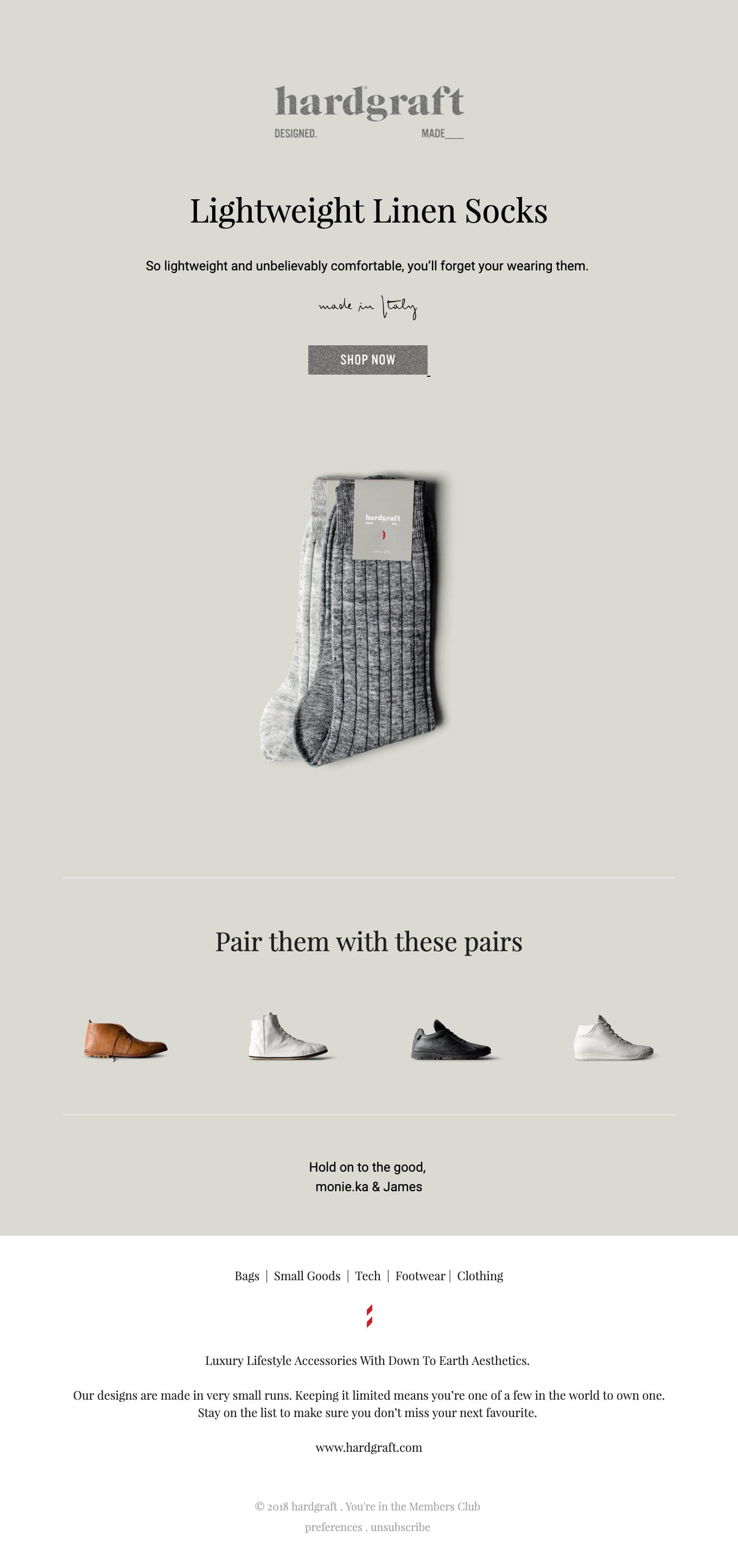 Made in Italy Linen Socks – Now Online Email Screenshot