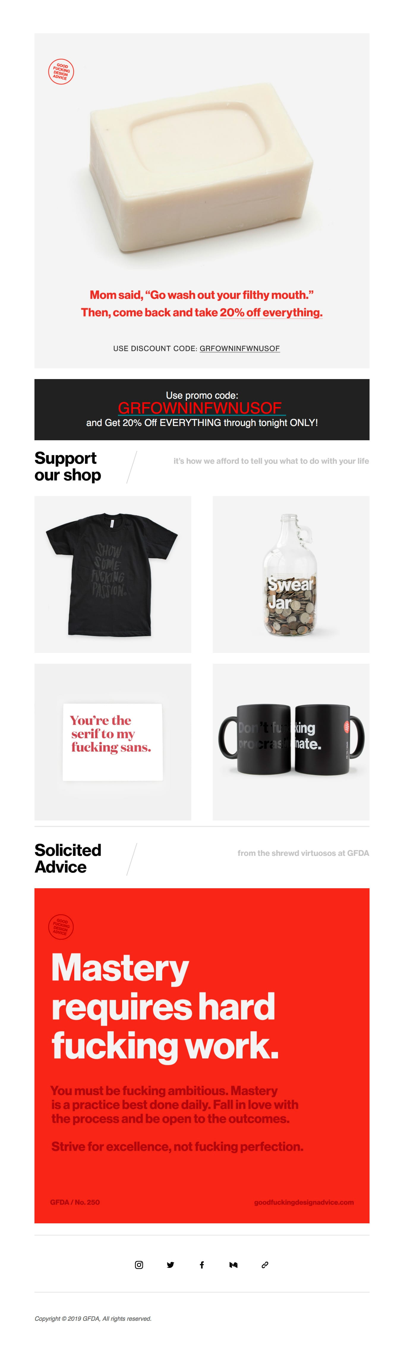 20% Off EVERYTHING Email Screenshot