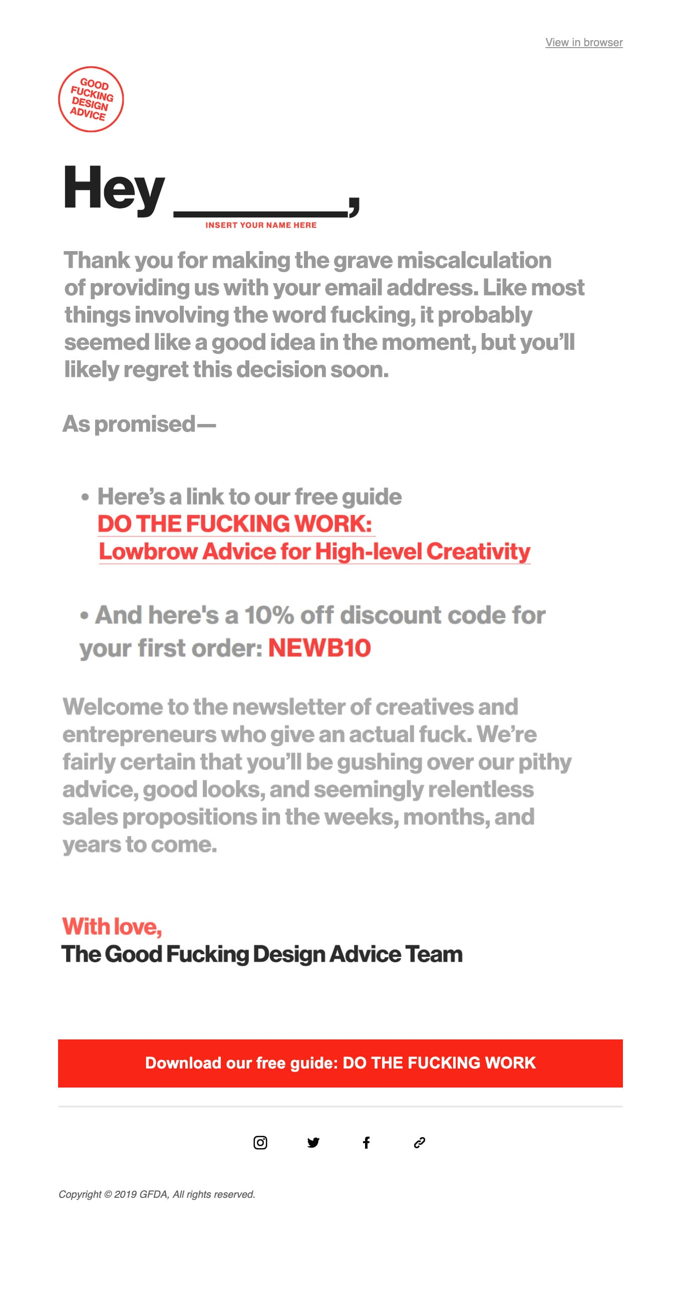 Welcome to the GFDA Newsletter! Email Screenshot