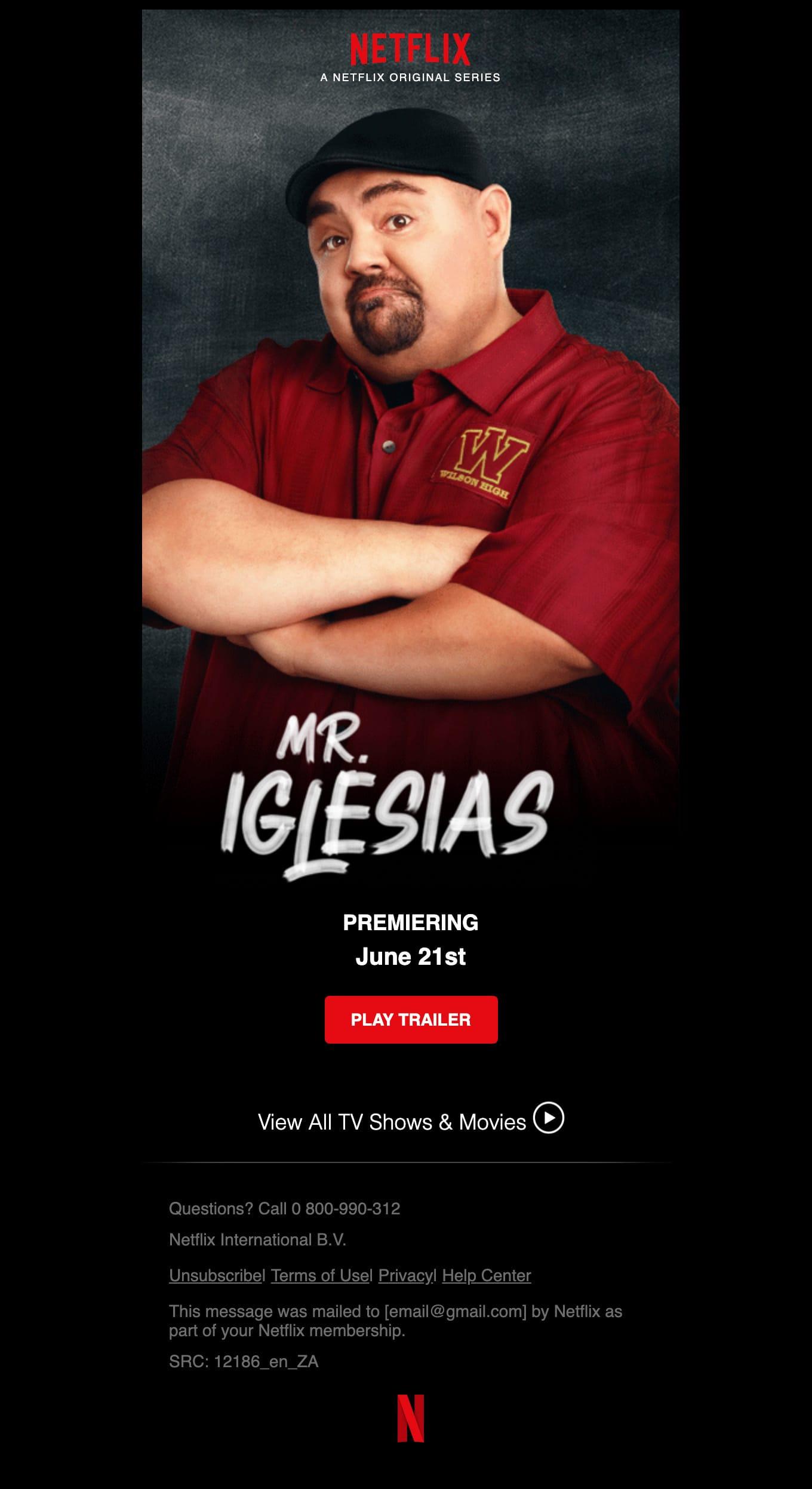 Coming Friday, June 21st… Mr. Iglesias Email Screenshot