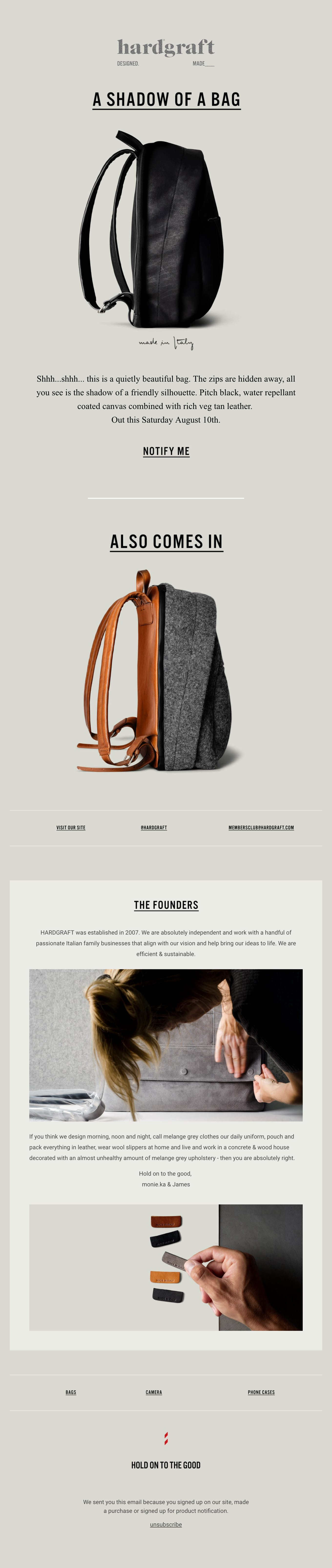 New Backpack – This Saturday Email Screenshot
