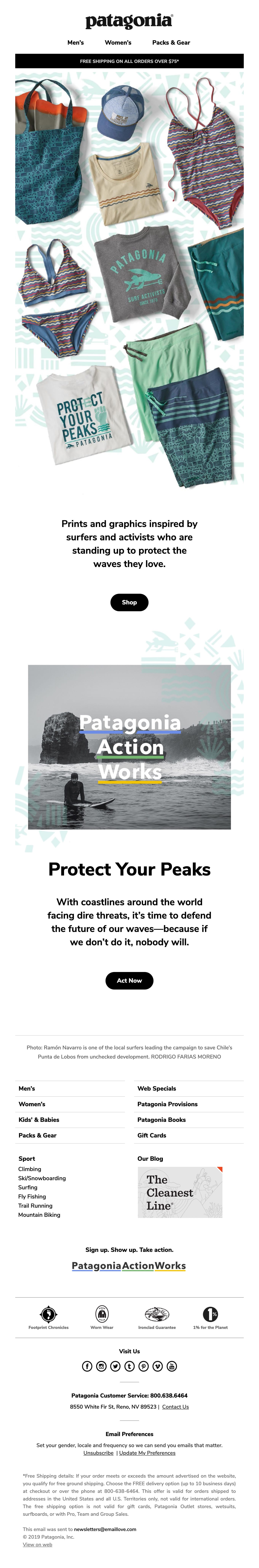 New Surf Graphics: Protect Your Peaks Email Screenshot