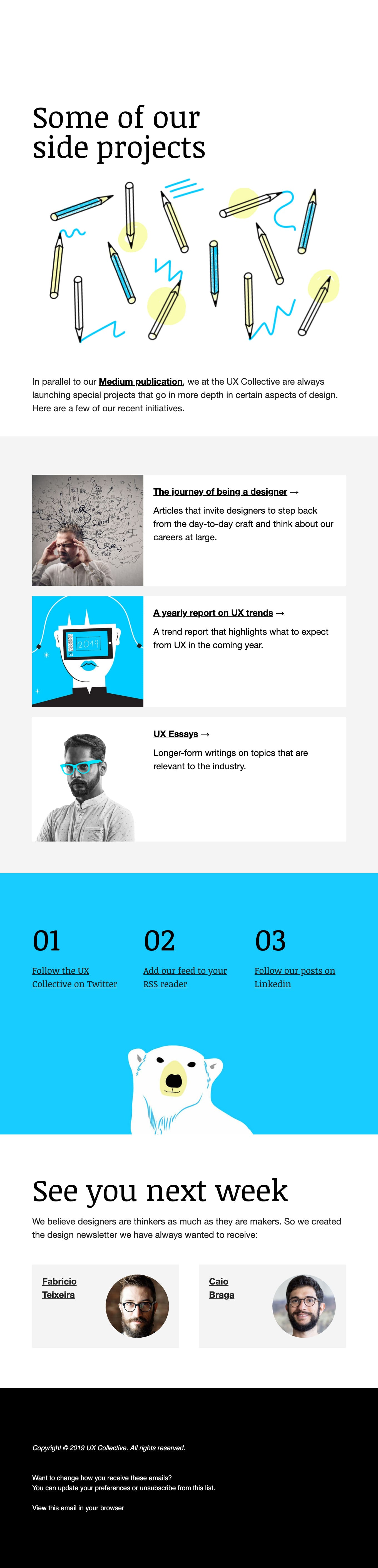 3 UX projects to check out Email Screenshot