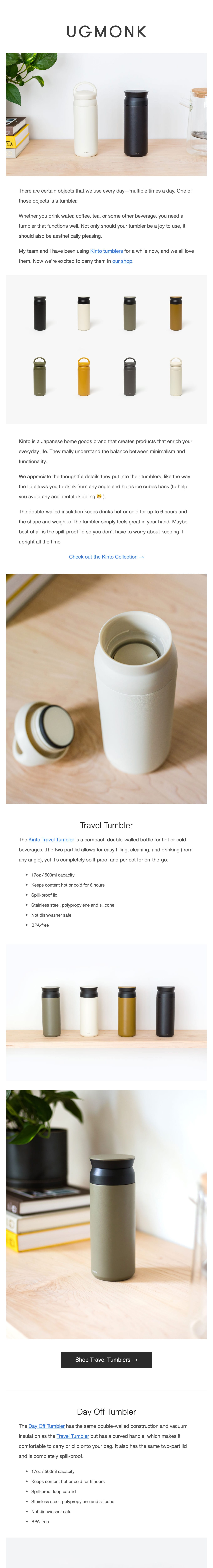 Introducing Kinto: Minimal Japanese Tumblers Email Screenshot