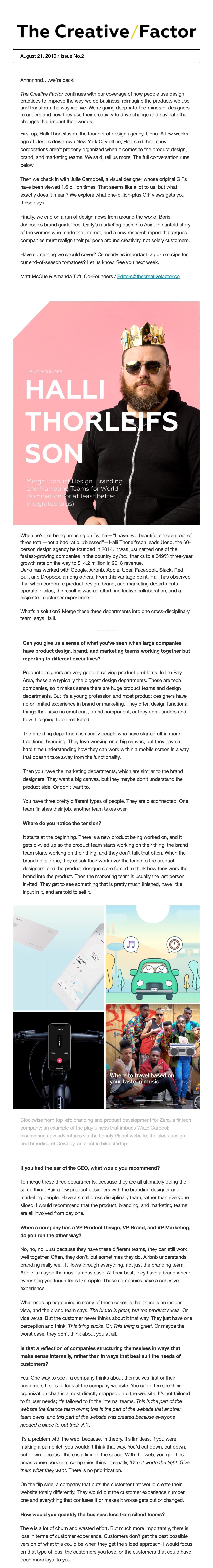 The Creative Factor Email Screenshot