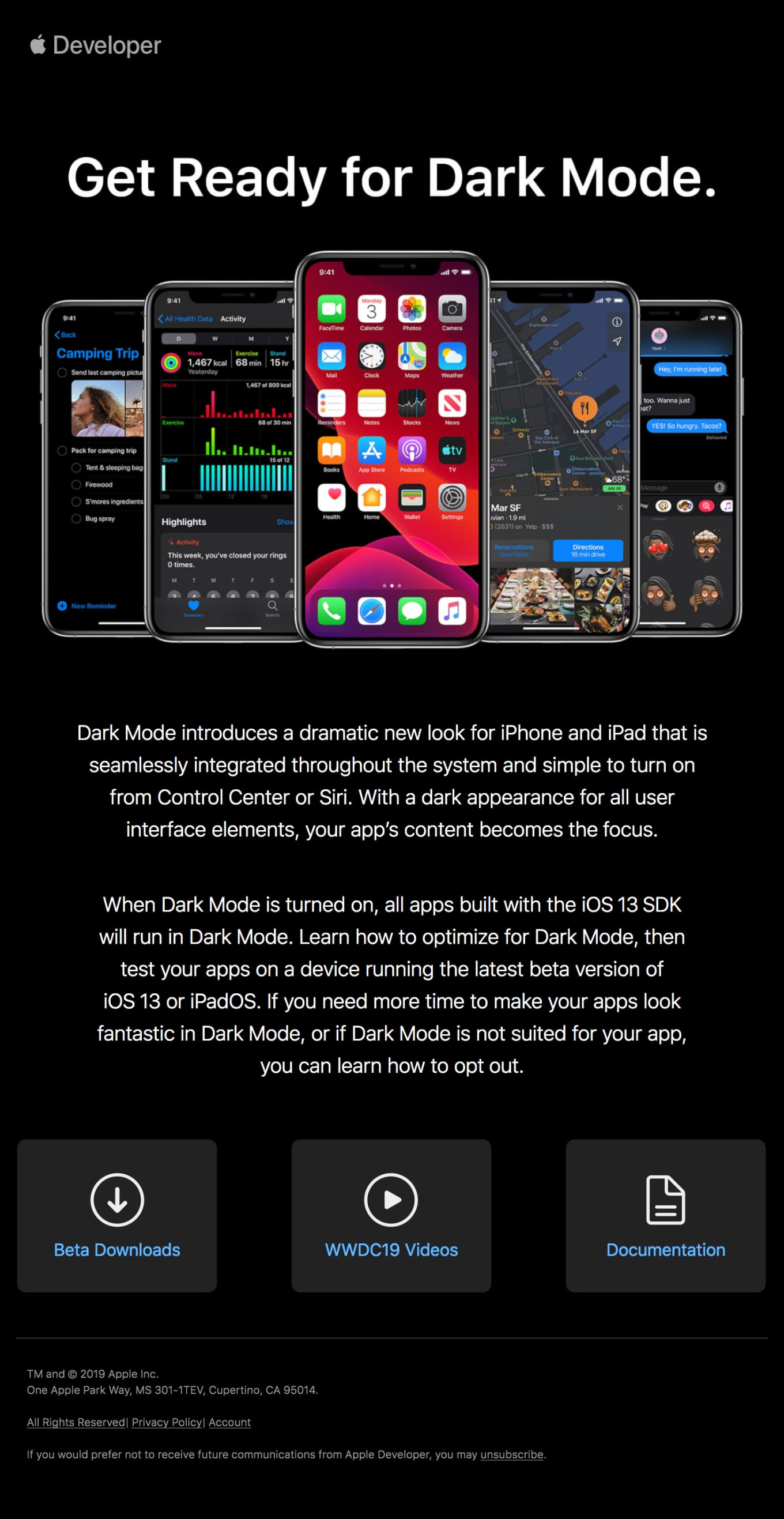 Get Ready for Dark Mode in the iOS 13 SDK Email Screenshot