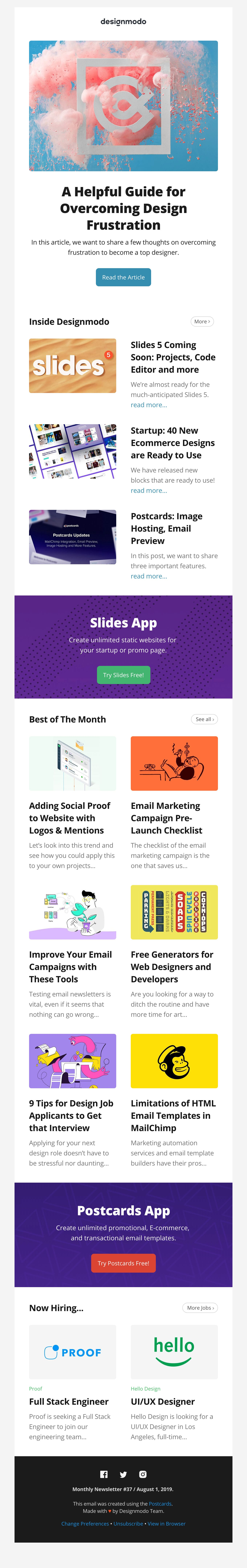 Issue #37: Overcoming Design Frustration Email Screenshot