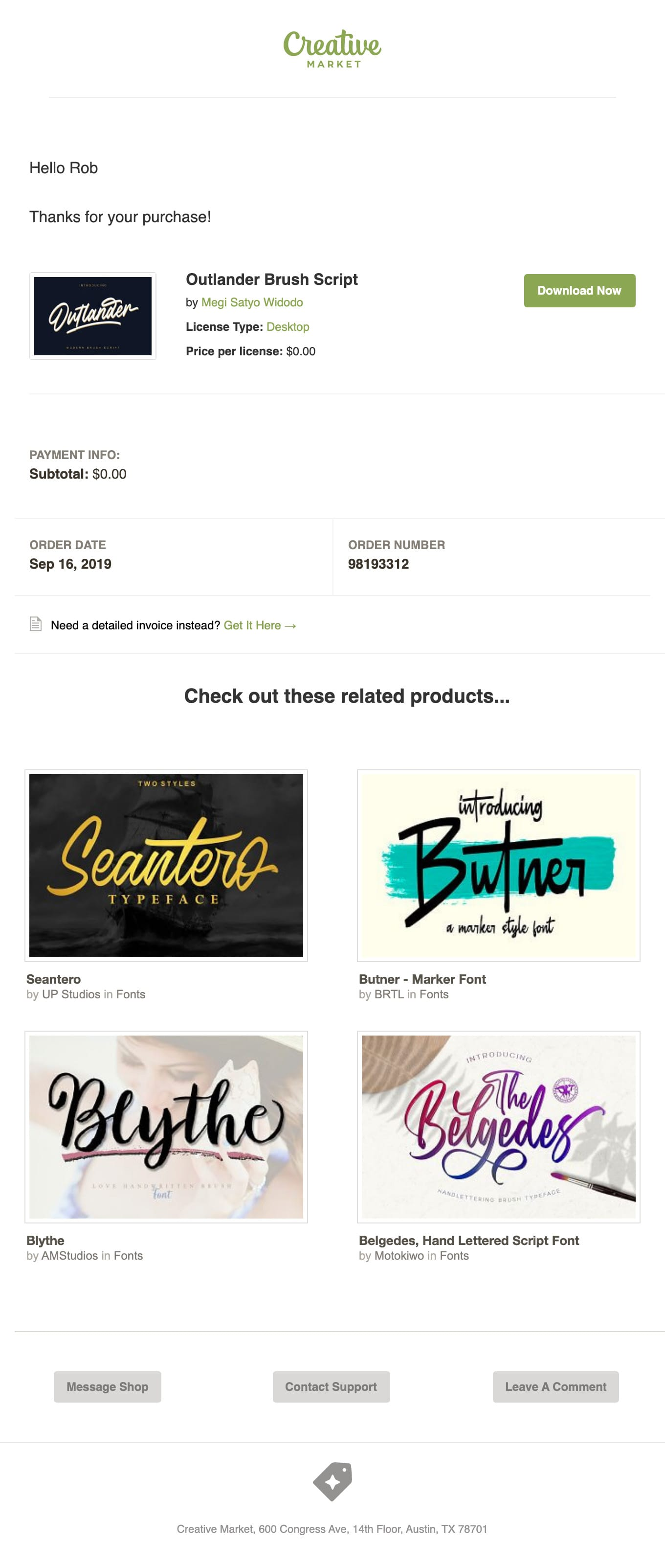 Receipt for your Creative Market purchase Email Screenshot