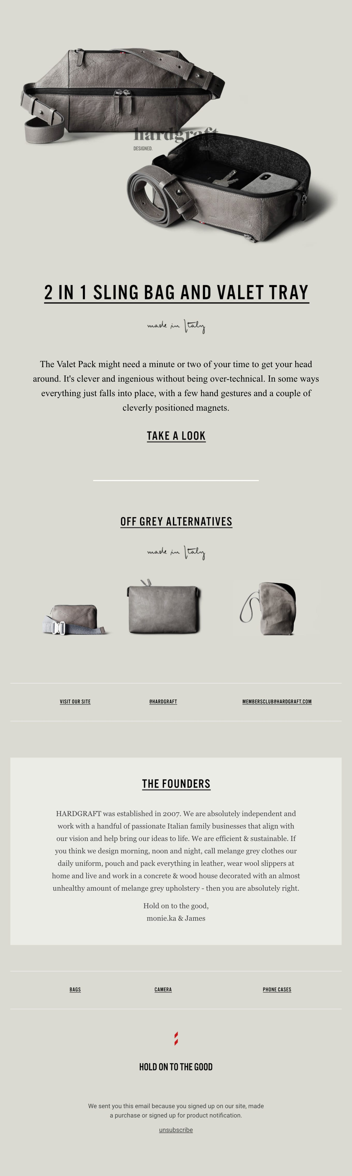 2 in 1 Sling Bag and Valet Tray Email Screenshot