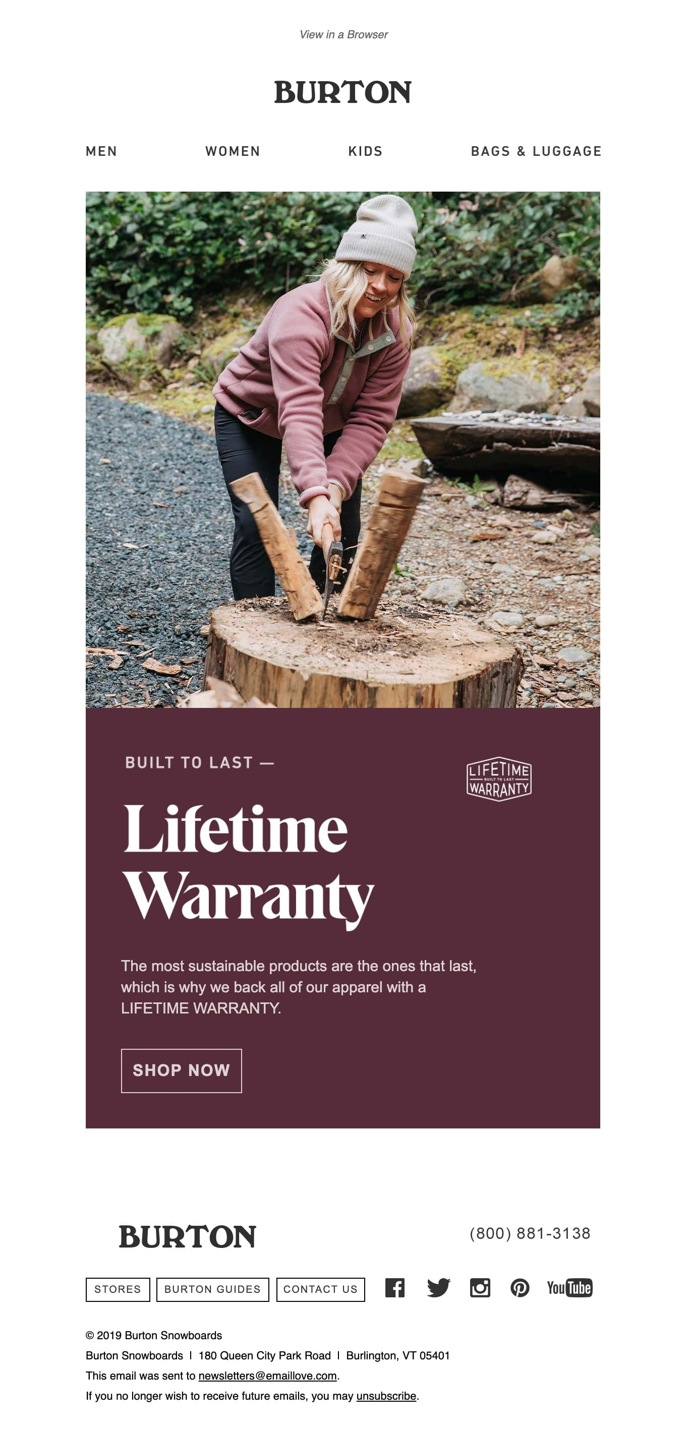 LIFETIME WARRANTY: Sustainable Products That Last Email Screenshot