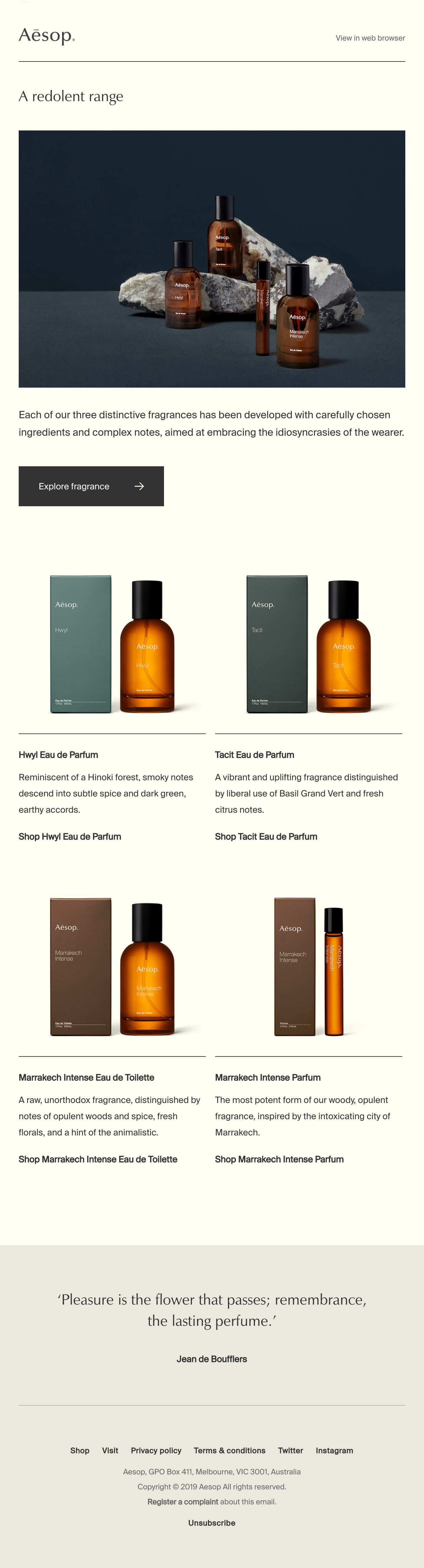 Fragrances for thought Email Screenshot