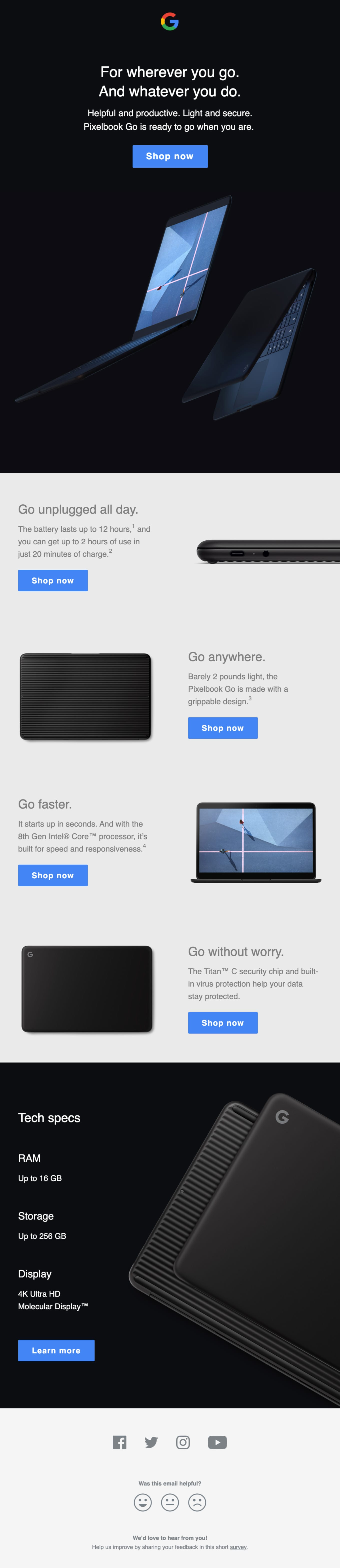 Introducing the new Pixelbook Go Email Screenshot