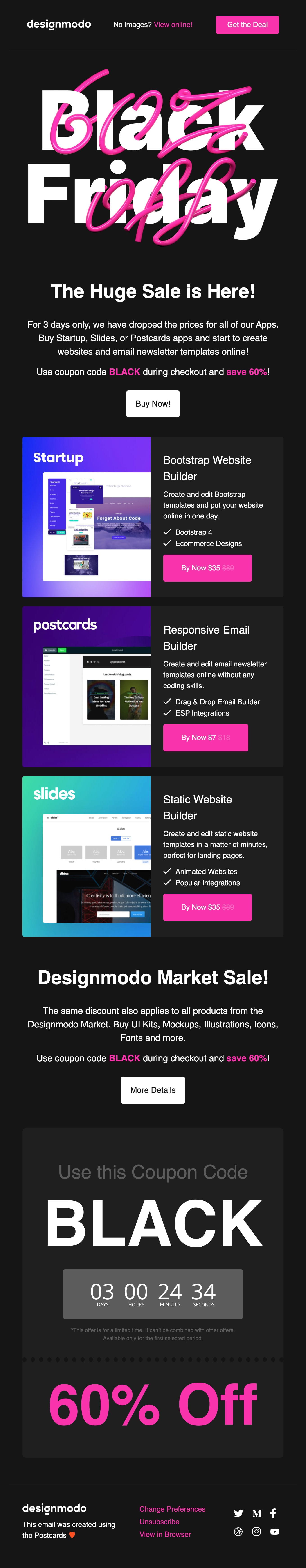 Black Friday on Designmodo, 60% Discount! Email Screenshot
