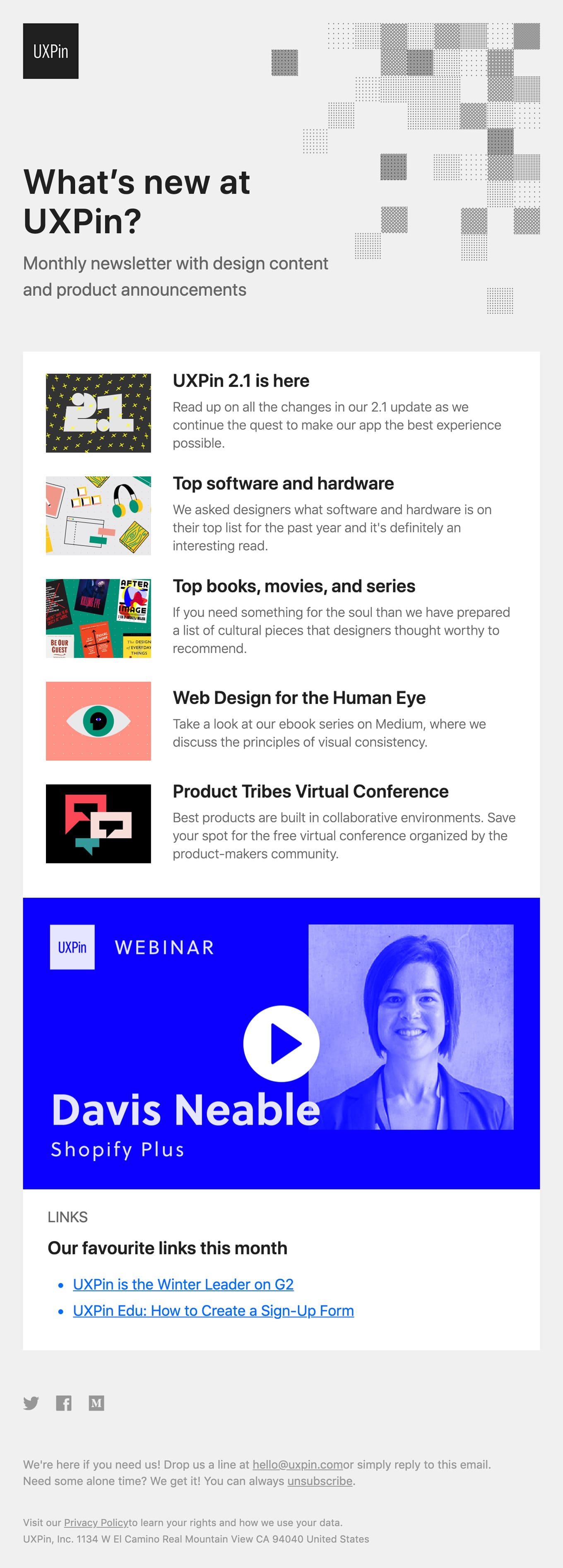 2019 in review, webinar with Shopify, and free design conference Email Screenshot