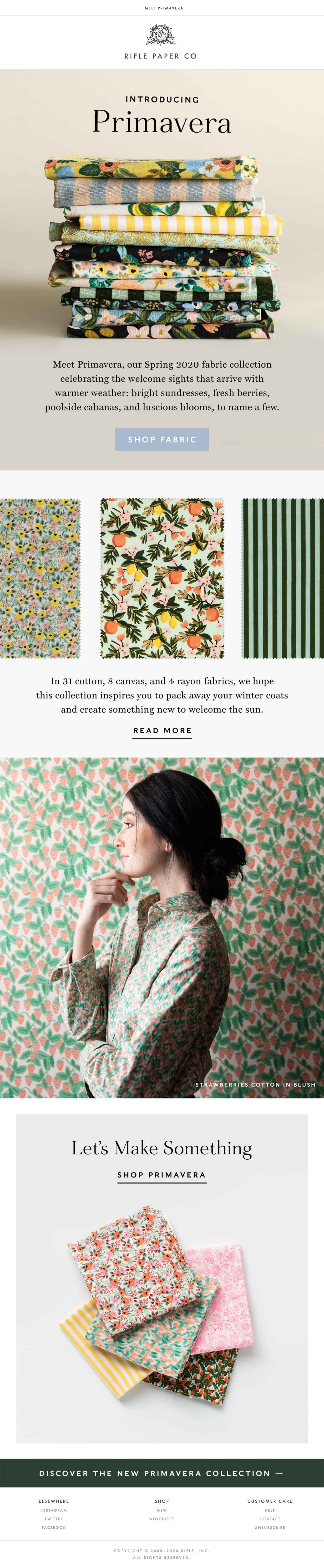 New Spring Fabric is Here! Email Screenshot