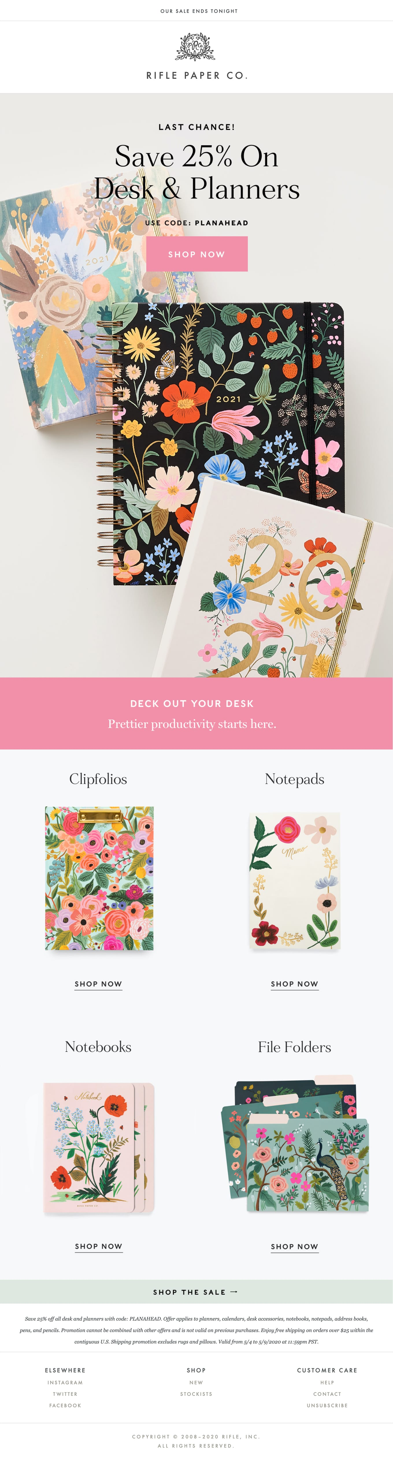 Save 25% On Planners! Email Screenshot
