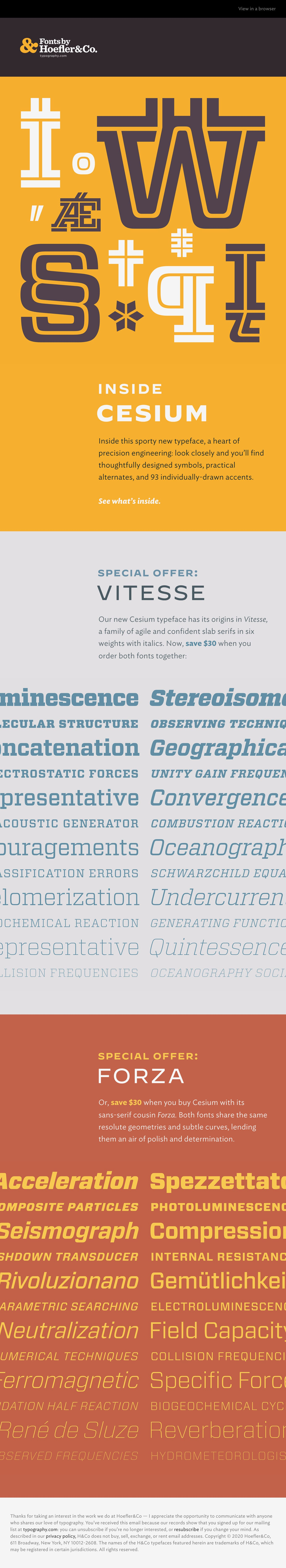 Inside the Cesium typeface Email Screenshot