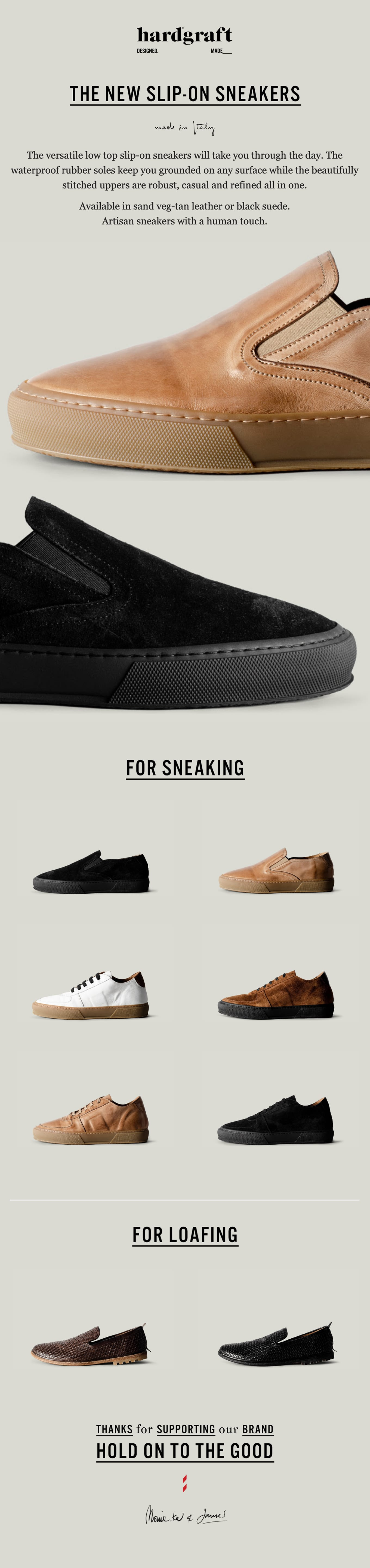 Slip on these sneakers Email Screenshot