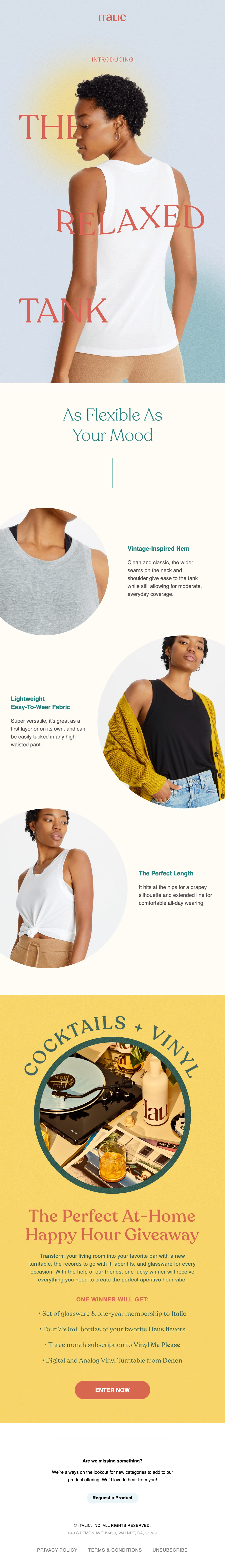 Just Arrived: The Relaxed Tank Email Screenshot